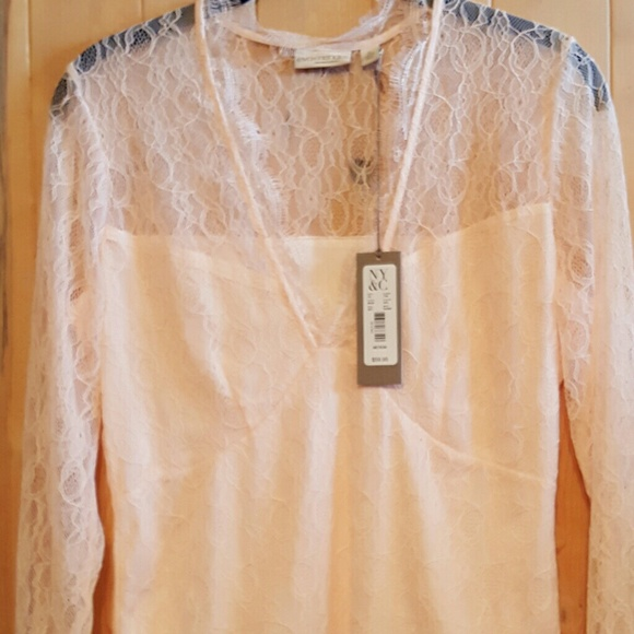 New York & Company Tops - Pink lace bodysuit, Eva Mendez / New York and Co